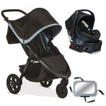 Britax B-Free / B-Safe 35 Infant Baby Stroller Travel System - Frost / Midnight with Back Seat Mirror