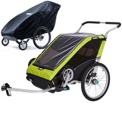 Thule Chariot Cheetah XT Multisport Trailer 2 - Chartreuse with Storage Cover