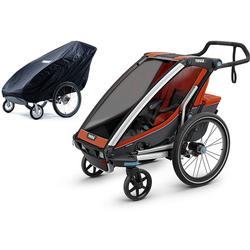 Thule Chariot Cross 1 Multisport Trailer - Roarange/Dark Shadow with Storage Cover