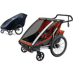 Thule Chariot Cross 2 Multisport Trailer - Roarange/Dark Shadow with Storage Cover