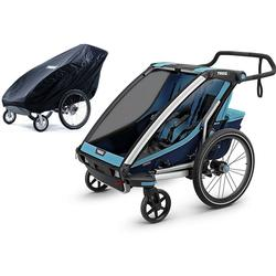 Thule Chariot Cross 2 Multisport Trailer - Thule Blue/Poseidon with Storage Cover