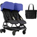 Mountain Buggy Nano Duo Double Stroller - Nautical with Diaper Bag