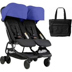 Mountain Buggy Nano Duo Double Stroller Nautical With Diaper Bag