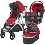 UPPABaby VISTA Stroller and MESA Car Seat Travel System - Denny (Red/Silver/Leather)