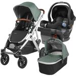 UPPABaby VISTA Stroller and MESA Car Seat Travel System - Emmett (Green Melange/Silver/Leather) and Jake (Black)