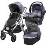 UPPABaby VISTA Stroller and MESA Wool Version Car Seat Travel System - Henry (Blue Marl/Silver/Leather)