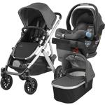 UPPABaby VISTA Stroller and MESA Wool Version Car Seat Travel System - Jordan (Charcoal Melange/Silver/Leather)