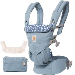 Ergo Baby Omni 360 All-in-One Ergonomic Baby Carrier  with Teething Pad Bib  - Blue Daisies