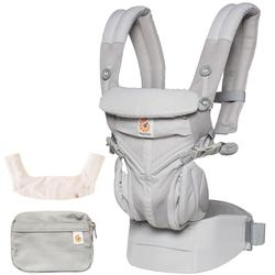 Ergo Baby Omni 360 Cool Air Mesh Ergonomic Baby Carrier with Teething Pad Bib - Pearl Grey