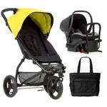 Mountain Buggy Mini V3.1 Stroller and Protect Car Seat Travel System with Diaper Bag - Cyber/Black/Silver