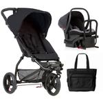 Mountain Buggy Mini V3.1 Stroller and Protect Car Seat Travel System with Diaper Bag - Black/Silver