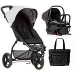 Mountain Buggy Mini V3.1 Stroller and Protect Car Seat Travel System with Diaper Bag - Silver/Black