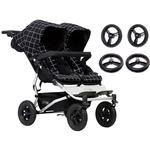 Mountain Buggy Duet V3_5 Double Buggy Stroller with Aerotech Wheel Set - Grid