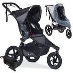 BOB Revolution PRO Jogging Stroller with Handlebar Console, Tire Pump and Weather Shield Bundle - Black