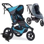 BOB Revolution PRO Jogging Stroller with Handlebar Console, Tire Pump and Weather Shield Bundle - Lagoon