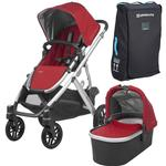 UPPAbaby 0318-VIS-US-DNY-BAG VISTA Stroller - Denny (Red/Silver/Black Leather) with Vista Travel Bag
