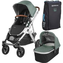 UPPAbaby 0318-VIS-US-EMT-BAG VISTA Stroller - Emmett (Green Melange/Silver/Saddle Leather) with Vista Travel Bag