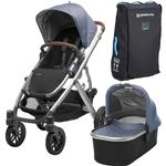 UPPAbaby 0318-VIS-US-HEN-BAG VISTA Stroller - Henry (Blue Marl/Silver/Saddle Leather) with Vista Travel Bag
