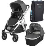 UPPAbaby 0318-VIS-US-JOR VISTA Stroller - Jordan (Charcoal Melange/Silver/Leather) with Vista Travel Bag
