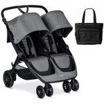 Britax B-Lively Double Stroller with Diaper Bag  - Dove