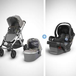 UPPAbaby Vista Stroller - Spenser (Grey&Yellow Tartan/Silver/Moss Leather) + MESA Infant Car Seat - Jake (Black)