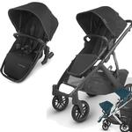UPPAbaby Vista V2 Stroller - JAKE (black/carbon/black leather) + Upper Adapter + RumbleSeat V2- JAKE (black/carbon/black leather)