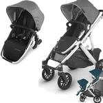 UPPAbaby Vista V2 Stroller - JORDAN (charcoal melange/silver/black leather) + Upper Adapters + RumbleSeat V2- JORDAN (charcoal melange/silver/black leather)