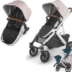 UPPAbaby Vista V2 Stroller - ALICE (dusty pink/silver/saddle leather) + Upper Adapters + RumbleSeat V2- ALICE (dusty pink/silver/saddle leather)