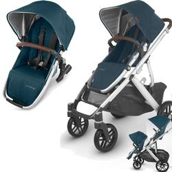 UPPAbaby Vista V2 Stroller - FINN (deep sea/silver/chestnut Leather) + Upper Adapters + RumbleSeat V2- FINN (deep sea/silver/chestnut Leather)
