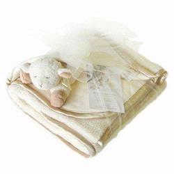 4411-CR Double Sherpa Baby Blanket Set- Cream With Baby Sheep Rattle