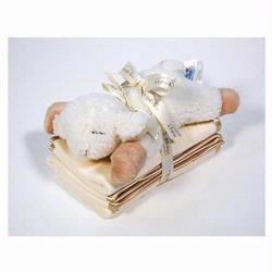 7121-BS Satin Trim Spill Cloth Set 3 piece Set With Plush Baby Sheep