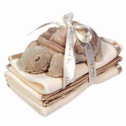 7121-BT Satin Trim Spill Cloth Set 3 piece Set With Plush Baby Turtle