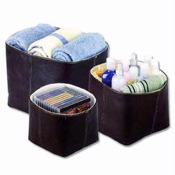 2433 Redmon Faux Leather Collection Three Piece Nested Totes - Dark Chocolate