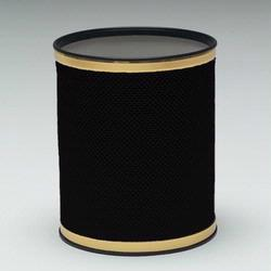R228-BKGD Redmon Bath Jewelry Collection Round Wastebasket - Black With Gold Lining