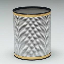 R228-SVGD Redmon Bath Jewelry Collection Round Wastebasket - Silver with Gold Lining