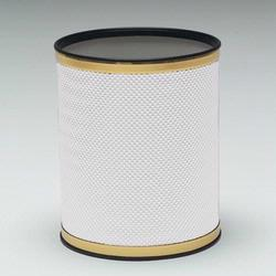 R228-WHGD Redmon Bath Jewelry Collection Round Wastebasket - White with Gold Lining