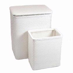 7212-WH Infant and Toddler Wicker Hamper With Bag and S426 Wastebasket Set -White