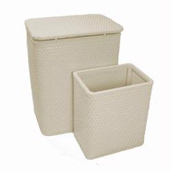 7212-CR Infant and Toddler Wicker Hamper With Bag and S426 Wastebasket Set -Cream