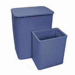 7212-CB Infant and Toddler Wicker Hamper With Bag and S426 Wastebasket Set -Coastal Blue