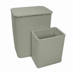 7212-SG Infant and Toddler Wicker Hamper With Bag and S426 Wastebasket Set -Sage Green