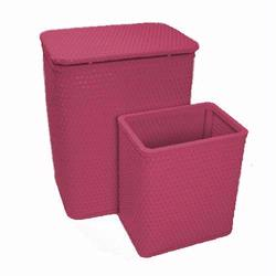 7212-RB Infant and Toddler Wicker Hamper With Bag and S426 Wastebasket Set -Rasberry