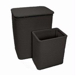 7212-BK Infant and Toddler Wicker Hamper With Bag and S426 Wastebasket Set -Black