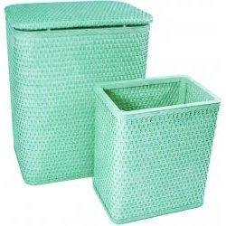 7212-MG Infant and Toddler Wicker Hamper With Bag and S426 Wastebasket Set -Mystic Green