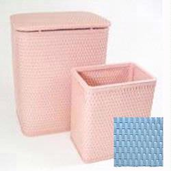 7212-SB Infant and Toddler Wicker Hamper With Bag and S426 Wastebasket Set -Sky Blue