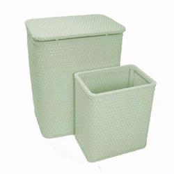 7212-HG Infant and Toddler Wicker Hamper With Bag and S426 Wastebasket Set -Herbal Green