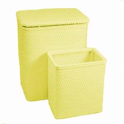 7212-YL Infant and Toddler Wicker Hamper With Bag and S426 Wastebasket Set -Yellow