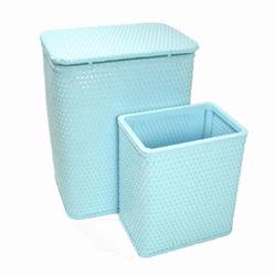 7212-IB Infant and Toddler Wicker Hamper With Bag and S426 Wastebasket Set -Illusion Blue