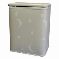 7132-WH Redmon Stars and Moons Round Infant Hamper With Bag - White