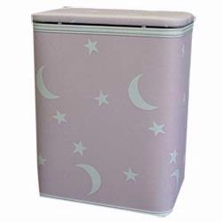 7132-PK Redmon Stars and Moons Round Infant Hamper With Bag - Pink