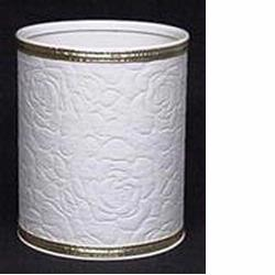 R136 Redmon Traditional Times Quilted Vinyl Wastebasket (White with Gold Trim)
